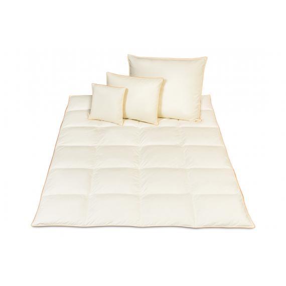 Zestaw kołdra puchowa zimowa 160x200 + 2 poduszki puchowe